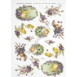 Papier ryżowy ITD Collection 299 - Wielkanocne i fiołki