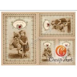 Papier do decoupage soft Cheap-Art A3 Pierwsza miłość