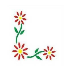 Szablon narożnik 47 kwiaty - 12 x 15 cm