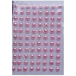 Półperełki samoprzylepne 3 mm jasno-różowe