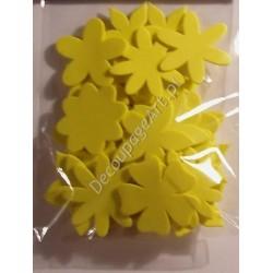 Elementy kwiatowe z mikrogumy 36 szt. - żółte