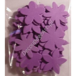 Elementy kwiatowe z mikrogumy 36 szt. - fioletowe