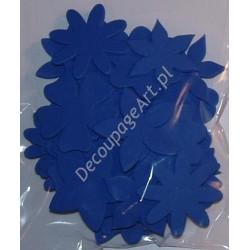 Elementy kwiatowe z mikrogumy 36 szt. - jasno-niebieskie