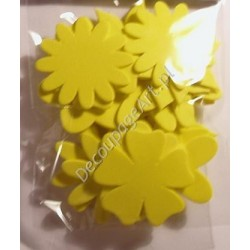 Elementy kwiatowe z mikrogumy 24 szt. - żółte