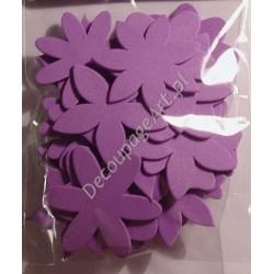 Elementy kwiatowe z mikrogumy 24 szt. - fioletowe