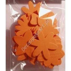 Elementy kwiatowe z mikrogumy 24 szt. - pomarańczowe