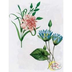 Kalkomania Arte - Różowy i niebieski kwiat