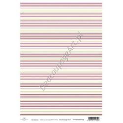 Papier do decoupage ITD SOFT 014 - Różowe paski