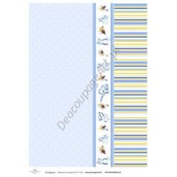 Papier do decoupage ITD SOFT 016 - Paski i pszczółki