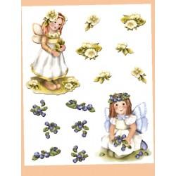 Kalkomania Arte - Dwa aniołki i kwiatki