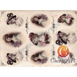 Papier do decoupage soft Cheap-Art A3 Damy w kapeluszach