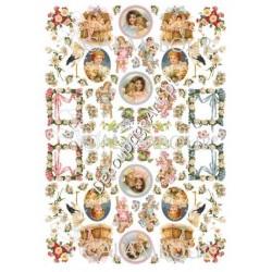 Papier ryżowy Calambour 32 - Dziewczynki, aniołki i ramki
