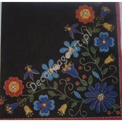 Serwetki do decoupage - haft ludowy na czarnym