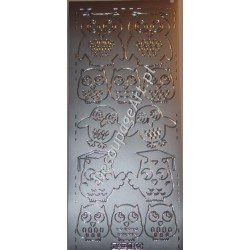 Naklejki samoprzylepne 691 sowy srebrne