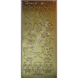 Naklejki samoprzylepne 691 sowy złote