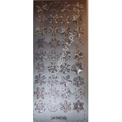 Naklejki samoprzylepne 700 śnieżynki srebrne