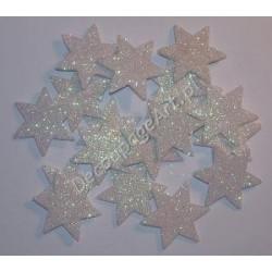 Gwiazdki z mikrogumy brokatowej - białe