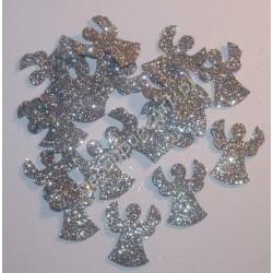 Anioły z mikrogumy brokatowej - srebrne