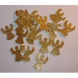 Anioły z mikrogumy brokatowej - złote