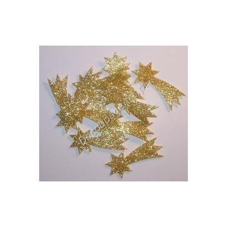 Komety z mikrogumy brokatowej - złote