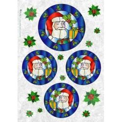 Papier ryżowy Kalit do decoupage fes0024 Święty Mikołaj witraże