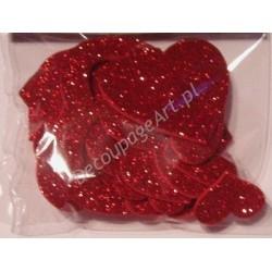 Serca z mikrogumy brokatowej czerwone