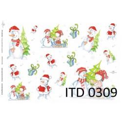 Papier do decoupage ITD 309 - Bałwanek