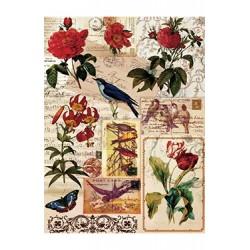 Papier Ryżowy Cadence 049 Kwiaty i pismo