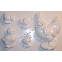 Foremka do odlewów gipsowych 25 Kura i kurczaczki