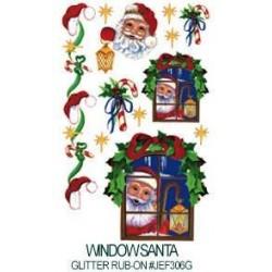 Kalkomania artystyczna lśniąca - Window Santa