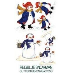 Kalkomania artystyczna lśniąca - Red/Blue Snowman