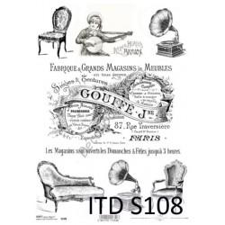 Papier do decoupage ITD SOFT 108 - Gramofony i kanapy
