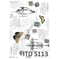 Papier do decoupage ITD SOFT 113 - Motyle i znaczki