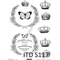 Papier do decoupage ITD SOFT 117 - Korony i motyle