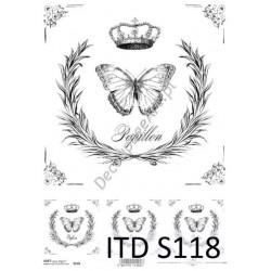 Papier do decoupage ITD SOFT 118 - Motyle
