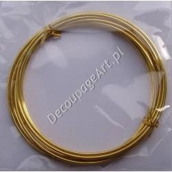 Drut jubilerski aluminiowy złoty 2 mm/3 m