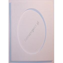 Kartka passe-partout oval biała