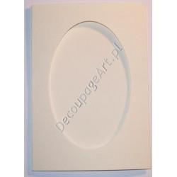 Kartka passe-partout oval biała perłowa