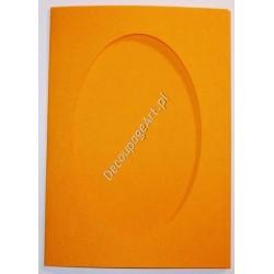 Kartka passe-partout oval ciemno-żółta