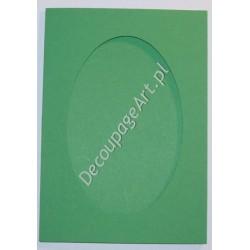 Kartka passe-partout oval szmaragdowo-zielony