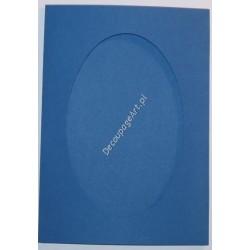 Kartka passe-partout oval niebieska