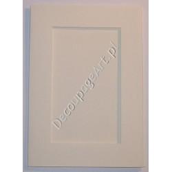 Kartka passe-partout prostokąt biały-perłowy