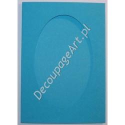 Kartka passe-partout z fakturą oval jasno-niebieski