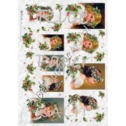 Papier ryżowy Kalit do decoupage vit_fes_036 Boże Narodzenie dziewczynki