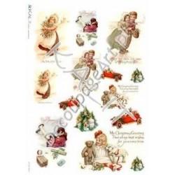 Papier ryżowy Kalit do decoupage vit_fes_0054 Świąteczne dzieci