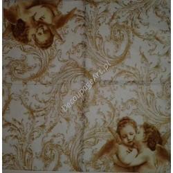 Serwetki do decoupage - Aniołki całuśne na złocie