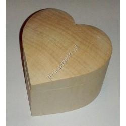 Szkatułka z drewna serce średnia