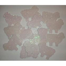 Baranki z mikrogumy brokatowej - białe