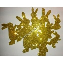 Króliki z mikrogumy brokatowej - złote
