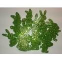 Króliki z mikrogumy brokatowej - zielone